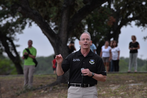 Brig. Gen. Robert D. LaBrutta, 502nd Air Base Wing and Joint Base San Antonio commander, speaks to participants prior to the Rambler 120 Race Sept. 20 at Canyon Lake, Texas. The Rambler 120 Race, which includes running, biking, rafting and a mystery event, was held at Joint Base San Antonio Recreation Park at Canyon Lake. Twenty-nine teams competed in the 22-mile bike course, 6-mile run, 2-mile rafting event and a Frisbee toss mystery event.  (U.S. Air Force photo/Desiree N. Palacios)