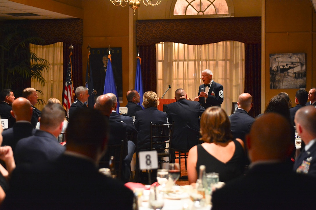 Retired Chief Master Sgt. of the Air Force Robert D. Gaylor speaks at the 109th Airlift Wing's Senior Noncommissioned Officer Induction Ceremony at Schenectady County Community College, Schenectady, New York, on Sept. 25, 2014. Gaylor joined the Air Force in 1948 and became the fifth chief master sgt. of the Air Force in 1977. (U.S. Air National Guard photo by Master Sgt. William Gizara/Released)