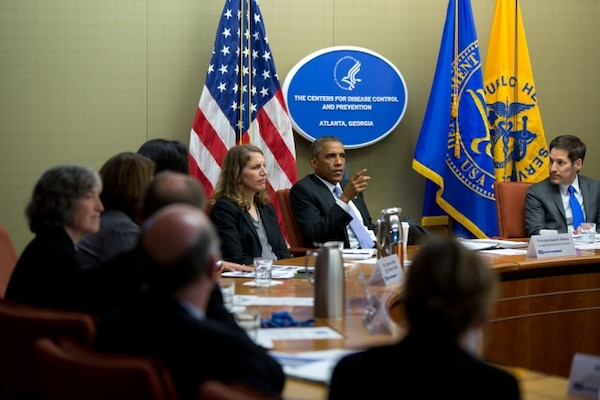 President Barack Obama convenes a meeting on the Ebola virus at the Centers for Disease Control and Prevention in Atlanta, Ga., Sept. 16, 2014. Official White House Photo by Pete Souza