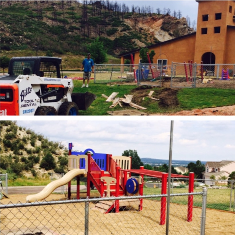 Before and after photos of the playground  equipment that brought so many smiles to the Alpine Autism Center in Colorado.