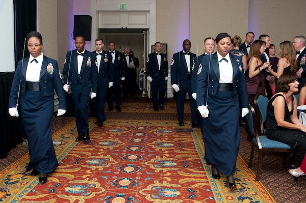 Members of the Joint Base San Antonio First Sergeants' Council  provided the saber team for Joint Base San Antonio's celebration of the Air Force's 67th birthday during a birthday event at the Westin Hotel in San Antonio Sept. 20. The modern day Air Force was created as a separate military service on Sept. 18, 1947, with the implementation of the National Security Act of 1947 under President Truman.  The Air Force's core missions are rooted in its original roles and responsibilities that were assigned in 1947; today the core missions are air and space superiority, intelligence, surveillance and reconnaissance, rapid global mobility, global strike and command and control.(U.S. Air Force photo by Desiree N. Palacios/Released)