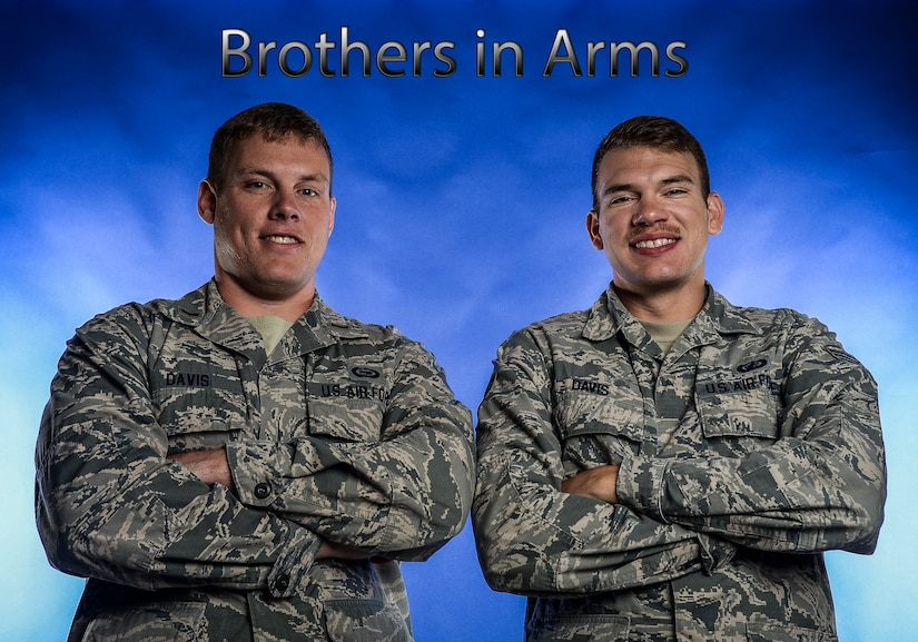 Sacrifice of service to one's country is a common thread all service members share, but two Airmen here at Joint Base Charleston share an even stronger bond. 2nd Lt. James Davis and Senior Airman Dustin Davis are brothers. (U.S. Air Force illustration/ Senior Airman Dennis Sloan)