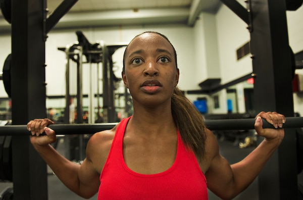 Staff Sgt. Miceala Simmons, 59th Medical Wing learning resource administrator, prepares for an upcoming fitness competition at Joint Base San Antonio-Lackland.(U.S. Air Force photo by Ben Faske/Released)