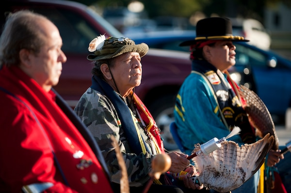 Gene Randall, left to right, Orevie Longhorn and Steve Zavala participate in the gourd dance and reveille ceremony during the Texas American Indian Heritage Day at Joint Base San Antonio-Randolph Sept. 26.  The Texas American Indian Heritage Day events were sponsored by JBSA-Randolph's Native American Heritage Committee. American Indian Heritage Day in Texas, signed into law in 2013, recognizes historical, cultural and social contributions of American Indian communities and leaders of Texas. (U.S. Air Force photo/Desiree N. Palacios)