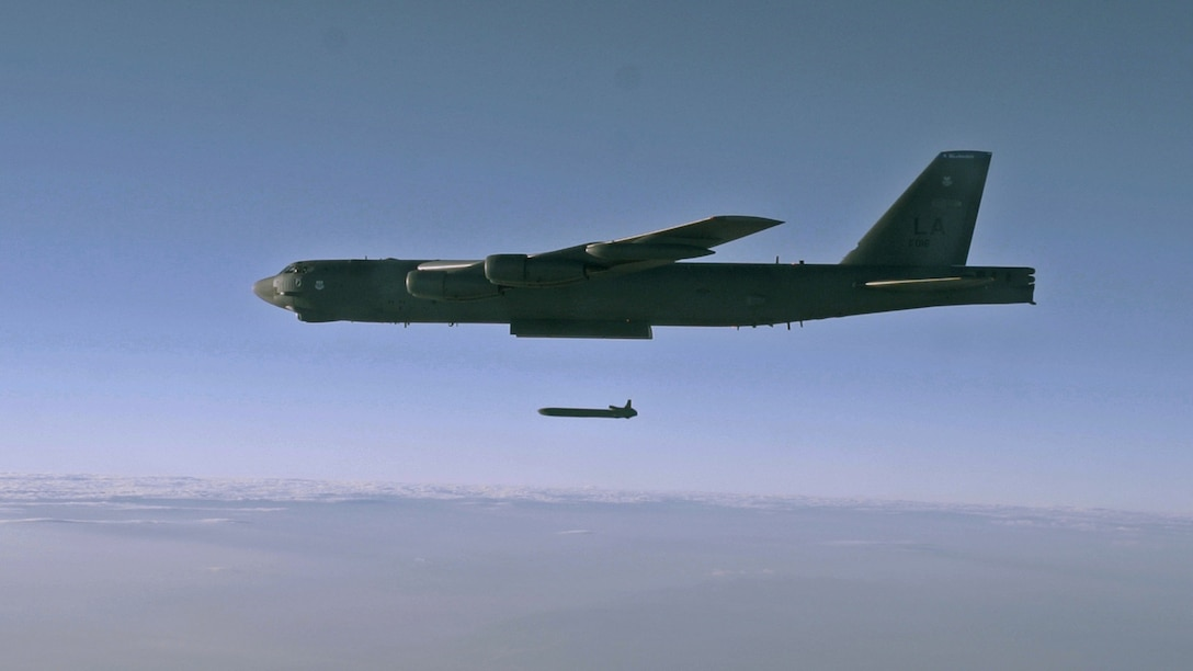 An unarmed AGM-86B Air-Launched Cruise Missile is released from a B-52H Stratofortress Sept. 22, 2014, over the Utah Test and Training Range during a Nuclear Weapons System Evaluation Program sortie. Conducted by Airmen from the 2nd Bomb Wing, Barksdale Air Force Base, La., the launch was part of an end-to-end operational evaluation of 8th Air Force and Task Force 204's ability to pull an ALCM from storage, load it aboard an aircraft, execute a simulated combat mission tasking and successfully deliver the weapon from the aircraft to its final target. (U.S. Air Force photo/Staff Sgt. Roidan Carlson)