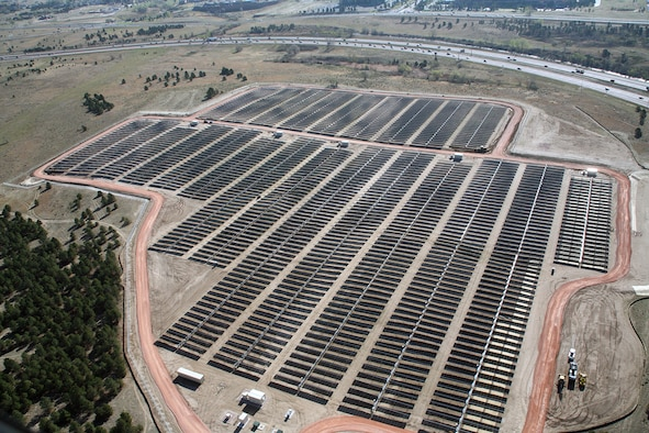 The U.S. Air Force Academy's solar array, pictured here May 13, 2011, occupies 41 acres of land on the Academy's southeast corner, adjacent to Interstate 25. The array, which comprises 18,888 solar panels, produced 12.5 million kilowatt-hours of power since it was activated July 1, 2011. (U.S. Air Force photo)