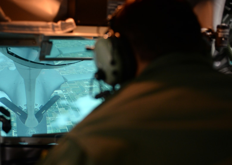 Airman 1st Class Greg Adams refuels a B-1B Lancer in the Boom Operator Weapons System Trainer Sept. 22, 2014, at the KC-135 Stratotanker Aircrew Training Center on Altus Air Force Base, Okla. Altus AFB hosts two BOWST in its training facility. The BOWST is an inflight refueling training simulator that helps students become proficient in operating in a boom pod before they step into an actual refueling aircraft. Adams is a student with the 97th Training Squadron. (U.S. Air Force photo/Senior Airman Franklin R. Ramos)