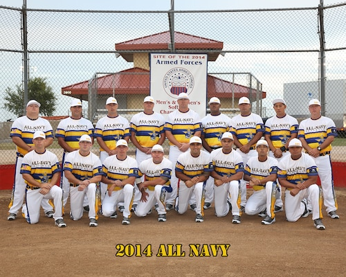 All Navy Mens Softball team at the 2014 Armed Forces Softball Championship at Fort Sill, Okla. 14-19 September.