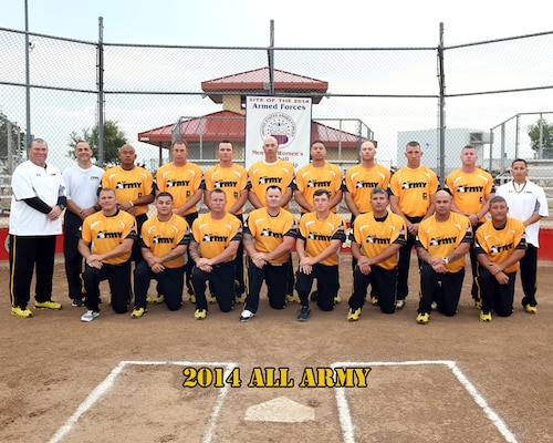 All Army Mens Softball team at the 2014 Armed Forces Softball Championship at Fort Sill, Okla. 14-19 September.