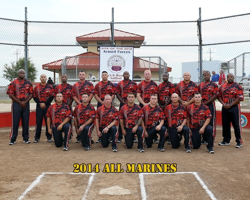 All Marine Mens Softball Team at the 2014 Armed Forces Softball Championship at Fort Sill, Okla. 14-19 September.