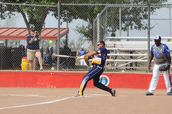Navy at bat during the 2014 Armed Forces Softball Championship at Fort Sill, Okla. 14-19 September.