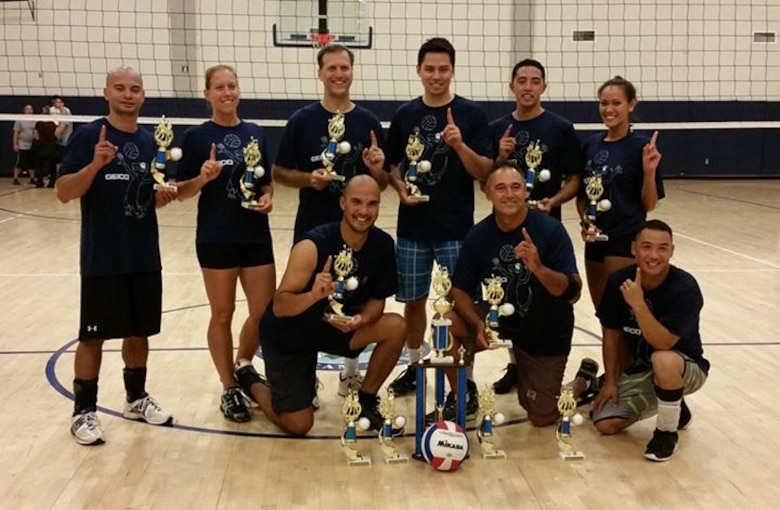 The Hawaii Air National Guard intramural volleyball team took 1st place in the 2014 Joint Base Pearl Harbor-Hickam intramural volleyball league. The 2014 league ran from June thru September and was comprised of 20 teams representing different units from around the base. (U.S. Air Force Photo)