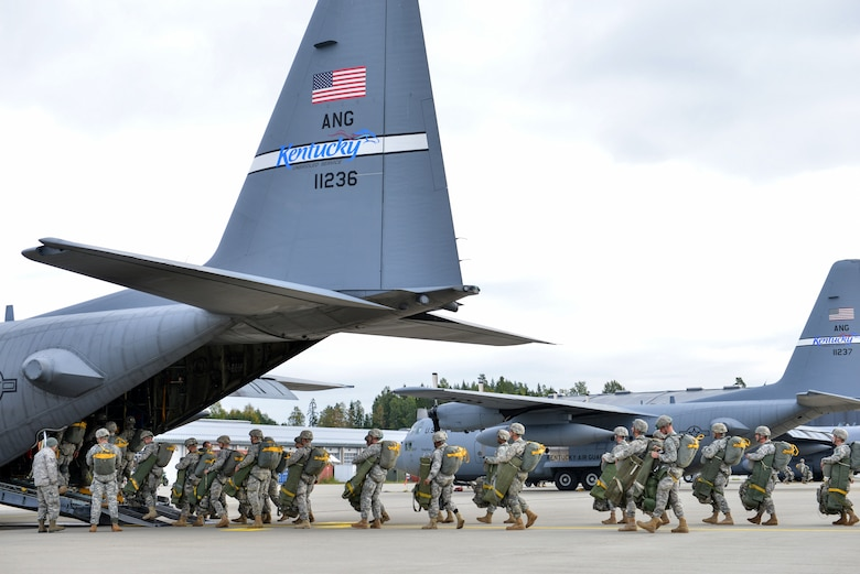 U.S. Army soldiers from the 82nd Airborne Division board a C-130H Hercules aircraft assigned to the Kentucky Air National Guard's 123rd Airlift Wing at Gardermoen Military Air Station in Oslo, Norway, on Sept. 23, 2014. Airmen from Kentucky unit provided airlift support to the 82nd during Operation Noble Ledger. (U.S. Air National Guard photo by Master Sgt. Charles Delano)