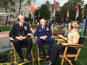 Air Force Lt. Gen. Douglas J. Robb, center, director of the Defense Health Agency, and Navy Command Master Chief Petty Officer Terry J. Prince, far left, senior enlisted advisor for DHA, discuss the agency's overall mission and role during an interview with Navy Petty Officer 1st Class Brandie Wills, host of DoD News' Adaptive Warrior broadcast, at the Warrior Games in Colorado Springs, Colo., Sept. 28, 2014. DoD photo by Army Sgt. 1st Class Tyrone C. Marshall Jr.