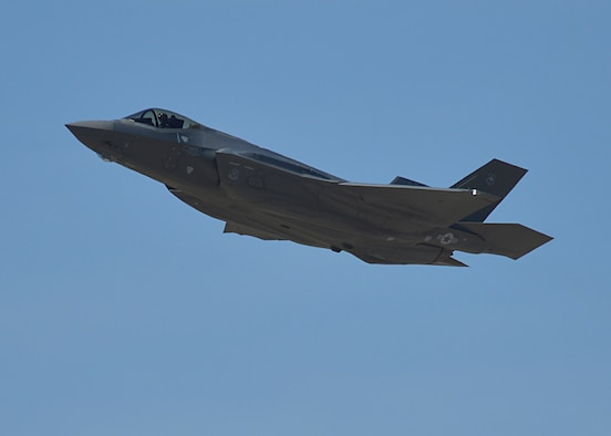 A pilot from Luke Air Force Base, Ariz., flew the 1,000th F-35A Lightning II training sortie March 31, 2015. The 56th Fighter Wing is the fastest F-35 wing to reach the 1,000-sortie milestone in the Defense Department. (U.S. Air Force photo/Senior Airman Devante Williams)