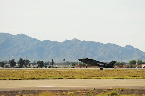 A pilot from Luke Air Force Base, Ariz., flew the 1,000th F-35A Lightning II training sortie March 31, 2015. The 56th Fighter Wing is the fastest F-35 wing to reach the 1,000-sortie milestone in the Defense Department. (U.S. Air Force photo/Staff Sgt. Staci Miller)