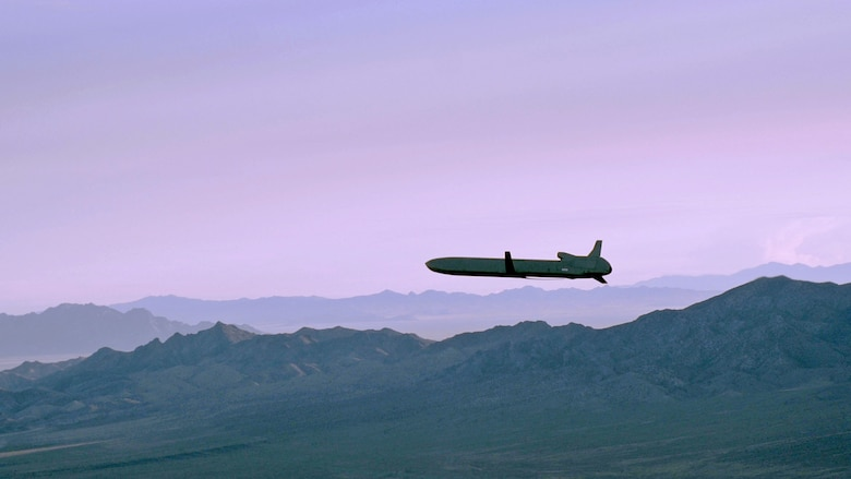 "An unarmed AGM-86B air-launched cruise missile maneuvers over the Utah Test and Training Range enroute to its final target Sept. 22, 2014, during a Nuclear Weapons System Evaluation Program simulated combat mission. The new Air Force Nuclear Weapons Center's Air Delivered Capabilities Directorate, referred to as ""ND,"" has several divisions to include engineering; strategic systems, nuclear weapons systems integration; outside continental U.S. support,; nuclear weapons acquisition; and cruise missile sustainment. (U.S. Air Force photo/Staff Sgt. Roidan Carlson)"