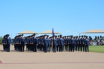 All female MTI Flight during BMT Parade on 27 March, in honor of Women's History Month. All leadership positions were filled by women assigned to the 737 TRG.(U.S. Air Force Photo/Robert Rubio)