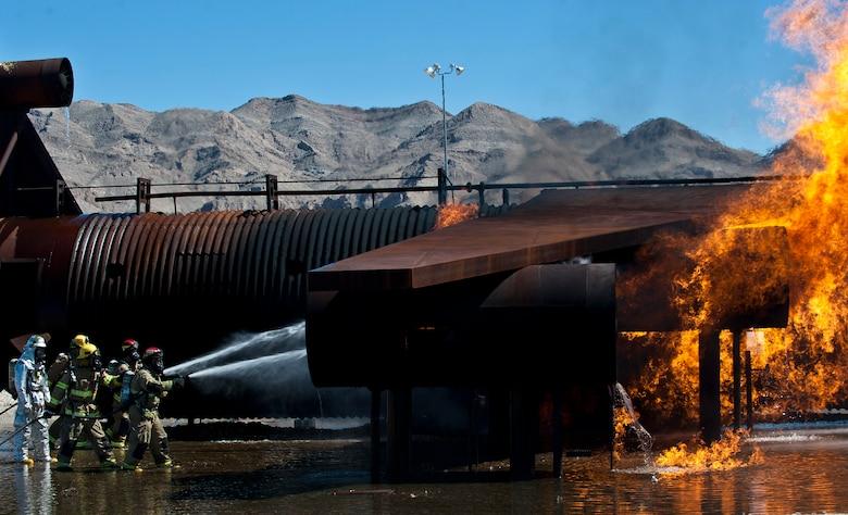 Nellis-Creech firefighters train with civilian counterparts