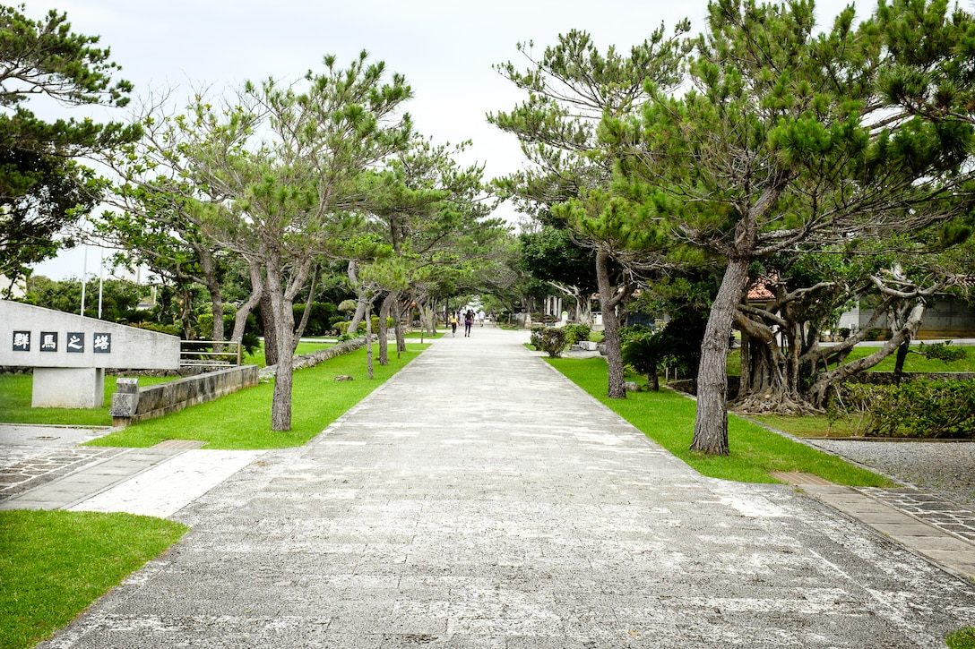 Memorial Path is lined with 32 memorials and is located on the grounds of the Okinawa Prefectural Peace Memorial Museum in Itoman City, Okinawa. The path leads to the location where Gen. Mitsuru Ushijima and Lt. Gen. Isamu Cho committed ritual suicide on June 22, 1945. (U.S. Air Force photo by Tech. Sgt. Alexy Saltekoff)