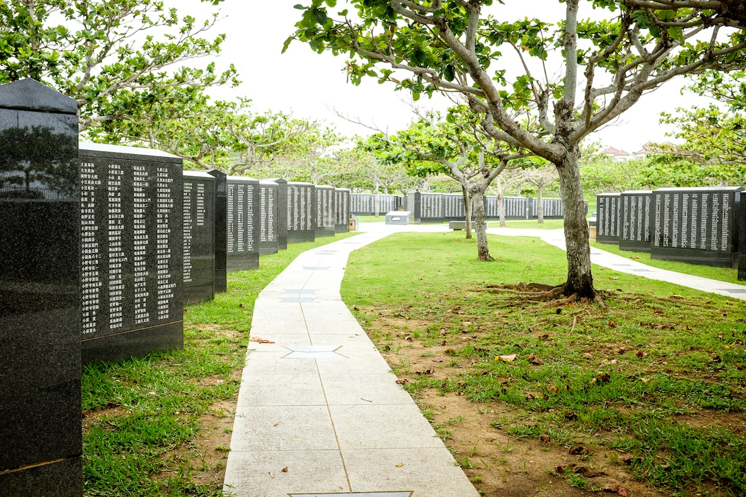 The Cornerstone of Peace lists more than 240,000 names etched in stone of those who died in the Battle of Okinawa. The memorial is located on the grounds of the Okinawa Prefectural Peace Memorial Museum in Itoman City, Okinawa. (U.S. Air Force photo by Tech. Sgt. Alexy Saltekoff)
