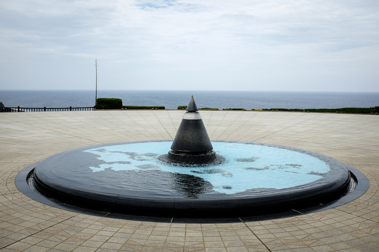 The Eternal Flame sits in the center of a pool of water and map depicting the Pacific region located on the grounds of the Okinawa Prefectural Peace Memorial Museum in Itoman City, Okinawa. The flame is part of a larger monument called The Cornerstone of Peace, which has more than 240,000 names etched in stone of those who died in the Battle of Okinawa. (U.S. Air Force photo by Tech. Sgt. Alexy Saltekoff)