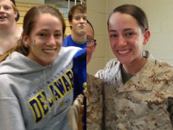 Madison Goebel, a sophomore English major at the University of Delaware, is currently enrolled in the Marine Corps' Platoon Leaders Class and completed her first six-week session this past summer. The PLC program consists of two paid six-week internship sessions or a single 10-week session at the Marine Corps Officer Candidate School in Quantico, Virginia. Upon successful completion of all academic requirements at their university and Officer Candidates School, students may commission as second lieutenants in the United States Marine Corps.  (U.S. Marine Corps photo illustration by Sgt. Bryan Nygaard/Released)