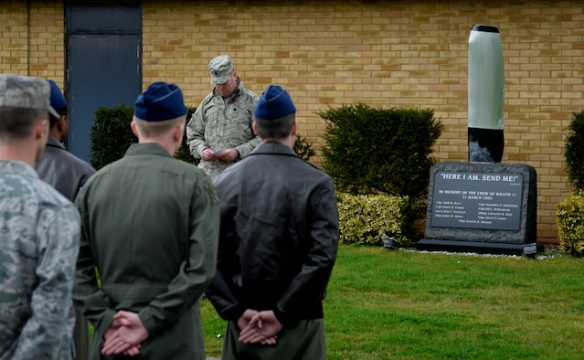 U.S. Air Force Lt. Col. Richard Greszler, 352nd Special Operations Support Squadron commander, speaks about the Airmen he once knew during a remembrance ceremony March 31, 2015, on RAF Mildenhall, England. The ceremony was held in honor of the 10th anniversary of the nine Airmen who died when WRATH-11, an MC-130H Combat Talon II assigned to the 7th SOS, crashed in Albania in 2005. (U.S. Air Force photo by Senior Airman Victoria H. Taylor)