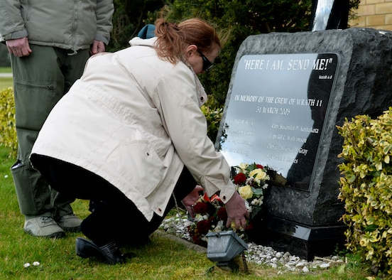 Greta Kothakota, the mother of deceased U.S. Air Force Capt. Surrender D. Kothakota, during the remembrance ceremony March 31, 2015, at the 7th Special Operations Squadron on RAF Mildenhall, England. The ceremony, held in honor of the 10th anniversary of the nine Airmen who died when WRATH-11, an MC-130H Combat Talon II assigned to the 7th SOS, crashed in Albania on March 31, 2005. The flight was part of a training exercise with two other aircraft to train on low-level and low-light flying. (U.S. Air Force photo by Senior Airman Victoria H. Taylor)