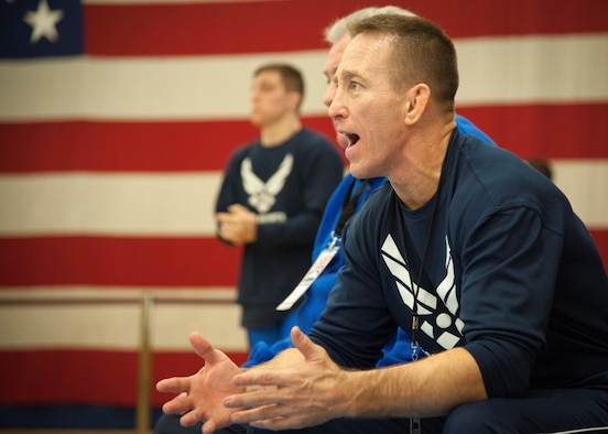 Senior Master Sgt. Steve Horton, the Air Force Wrestling assistant coach, shouts instructions to one of his wrestlers during the 2015 Armed Forces Wrestling Championships at Fort Carson, Colo., March 27, 2015. Horton is from Scott Air Force Base, Illinois. (U.S. Air Force photo/Staff Sgt. J. Aaron Breeden)