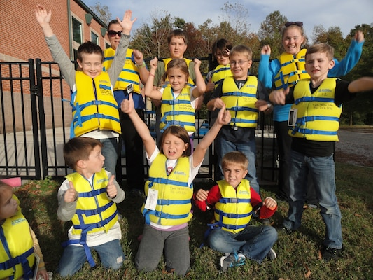 Students from the Putnam County School System wear BOAT US Foundation Life jackets to illustrate the importance of water safety in Cookeville, Tenn.