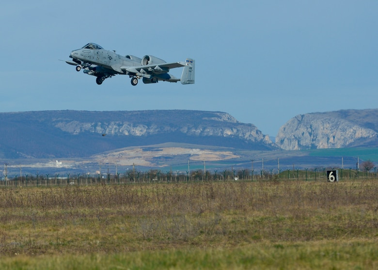 A U.S. Air Force A-10 Thunderbolt II pilot assigned to the 354th Expeditionary Fighter Squadron takes off from the flightline during a theater security package deployment at Campia Turzii, Romania, April 1, 2015.U.S. Airmen will conduct training alongside NATO allies to strengthen interoperability and demonstrate U.S. commitment to the security and stability of Europe.  (U.S. Air Force photo by Staff Sgt. Joe W. McFadden/Released)