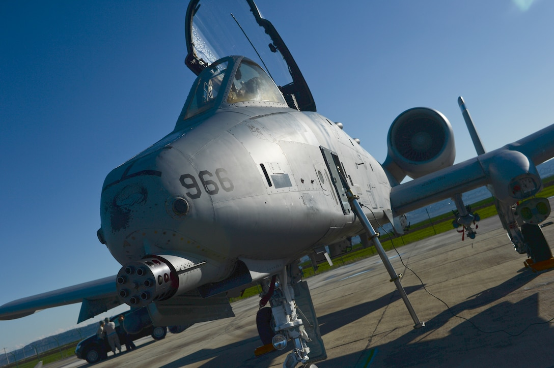 A U.S. Air Force A-10 Thunderbolt II assigned to the 354th Expeditionary Fighter Squadron is parked off the runway during a theater security package deployment at Campia Turzii, Romania, April 1, 2015. The aircraft will forward deploy to locations in Eastern European NATO countries as part of the TSP. (U.S. Air Force photo by Staff Sgt. Joe W. McFadden/Released)