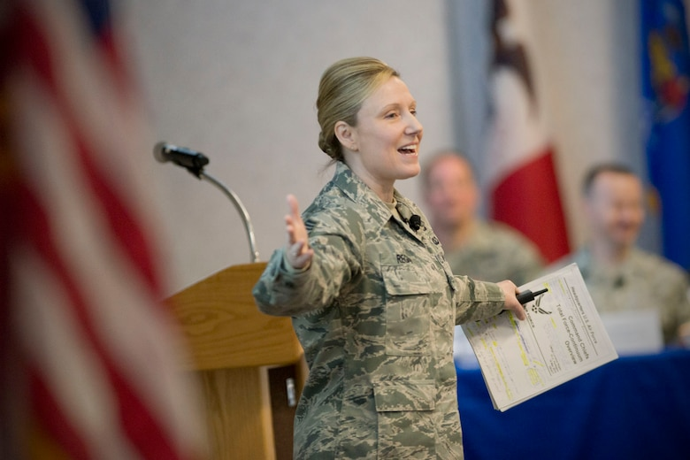 Chief Master Sgt. Lorraine Regan, special assistant for Total Force Enlisted Issues on Total Force Continuum, addresses senior enlisted leaders during the annual Command Chief's Huddle at Volk Field Combat Readiness Training Center, Wis., March 28, 2015. The Command Chief's Huddle brings together more than 150 Command Chief Master Sergeants and other senior enlisted leaders from 89 ANG wings and units, representing 54 states, territories and the District of Columbia, to openly discuss a wide range of issues and challenges facing the ANG. Attendees will also gain a better understanding of national issues relating to the ANG mission and share that knowledge with the 91,000 enlisted Air Guardsmen they represent. (U.S. Air National Guard photo by Master Sgt. Marvin R. Preston/Released)