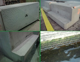 Photo collage of the engineered blocks to be used for operation and maintenance work on the Cleveland Harbor Green Breakwater Project, Cleveland, OH