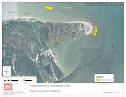 Proposed near-shore placement site of dredged sediment at Gulf Point, Presque Isle Bay, PA