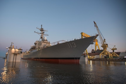 PASCAGOULA, Mississippi - The future USS John Finn (DDG 113) was launched at the Huntington Ingalls Industries (HII) shipyard March 28.