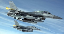 Two F-16 Fighting Falcons from the 31st Fighter Wing, Aviano Air Base, Italy, fly over Europe on March 20, 2015. The aircraft were participating in a flying training deployment with the Estonian air force and also participating in additional, unrelated training with the Finnish and Swedish air forces. (U.S. Air Force photo/Senior Airman Christine Griffiths)