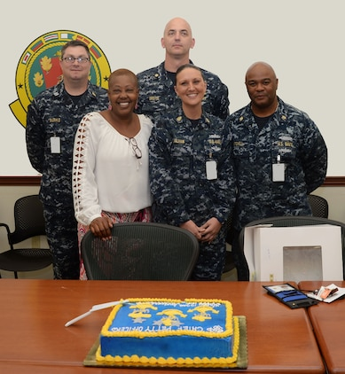 Naval Branch Health Clinic, Albany active-duty sailors and civilian personnel honor 122 years of the Navy's chief petty officers' service to the nation in a ceremony at Marine Corps Logistics Base Albany, April 1. Past and present chief petty officers were recognized during the celebration, which culminated with a cake-cutting to commemorate the anniversary.