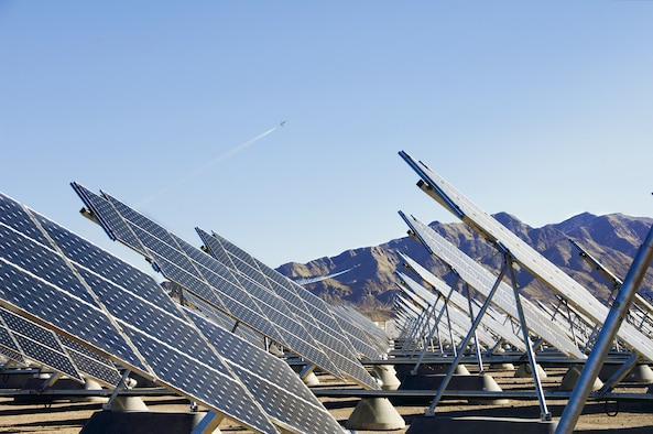 A groundbreaking ceremony was held for the newest Air Force solar array, 19-megawat farm Nellis II, March 24, 2105, at Nellis Air Force Base, Nev.  This is the second industrial-scale array at the base, and, once complete, the arrays will be the largest photovoltaic system in the Department of Defense. (U.S. Air Force photo)