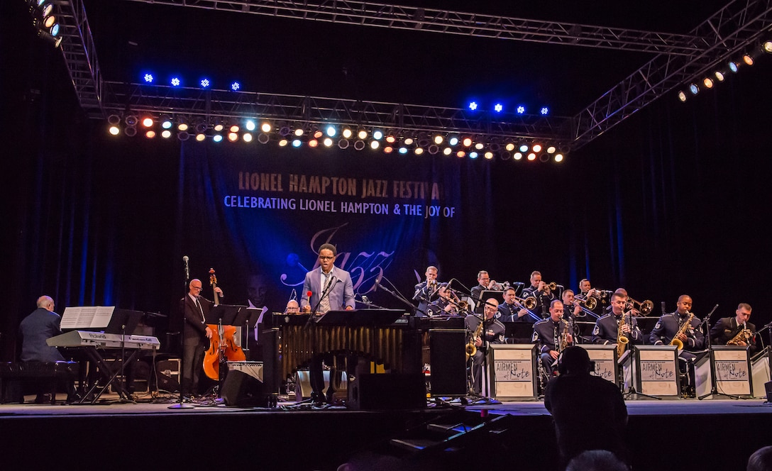 The Airmen of Note performs at the Lionel Hampton Jazz Festival in Moscow, Idaho with guest artist Stefon Harris. (photo by Dr. Elizabeth Black/released)