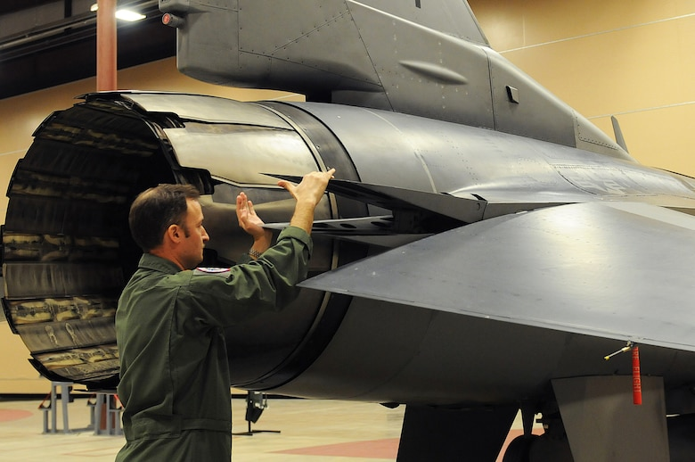 Pilot Maj. Wyck Furcron, with the 121st Fighter Squadron, preforms an operational check of the F-16 Fighter Falcon braking system on March 14. The 113th Wing's Aerospace Control Alert Detachment reached a milestone of responding to 5,000 alert events on March 21, 2015. The alert unit was created in response to the 9/11 terrorist attacks on the United States on Sept. 11, 2001. (Air National Guard photo by Master Sgt. Becky Vanshur)