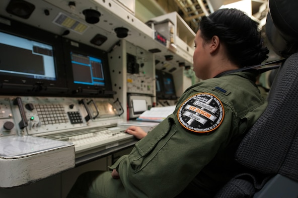 In preparation for an unarmed Minuteman III missile launch, 1st Lt. Kimberly Erskine,  the Missile Combat Crew commander from Malmstrom Air Force Base, Mont., practices procedures March 19, 2015, at Vandenberg AFB, Calif., in preparation for the launch of an unarmed Minuteman III intercontinental ballistic missile. Both F. E. Warren AFB, Wyo., and Malmstrom AFB personnel actively worked with the 30th Space Wing and the 576th Flight Test Squadron to perform two test launches in less than a week, providing a cradle-to-grave evaluation of the system, which started at the missile wings and ended more than 6,000 miles away at a test range near Guam. (U.S. Air Force photo/Michael Peterson)