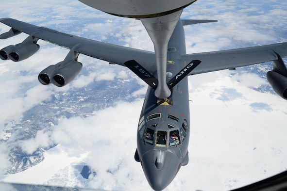 A B-52H Stratofortress from Barksdale Air Force Base, La., receives fuel from a New Hampshire Air National Guard KC-135R Stratotanker April 2, 2015, near the eastern coast of Canada. The B-52H was returning home after supporting Polar Growl, a U.S. Strategic Command-directed mission to the Arctic and North Sea regions. The mission was to provide a flexible and visible signal that highlights the U.S. ability to deter strategic attacks and respond to any potential future crisis or challenge. (Air National Guard photo/Airman Ashlyn J. Correia)