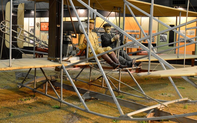 Wright 1909 Military Flyer in the Early Years Gallery at the National Museum of the United States Air Force. (U.S. Air Force photo by Ken LaRock)