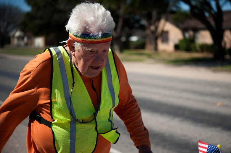 STERLING CITY, Texas -- Ernie Andrus, Navy World War II veteran, runs through Sterling City March 26. Andrus drives his recreational vehicle to various cities from California to Georgia where he completes a distance run at each stop. He averages from a half to full marathon a week. (U.S. Air force photo/ Airman 1st Class Devin Boyer)