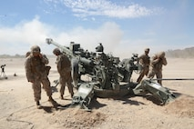 U.S. Marine Corps artillerymen assigned to 1st Battalion, 10th Marines, fire 155mm rounds using an M777 Howitzer weapons system during an artillery raid exercise. The exercise was in support of the Weapons and Tactics Instructor (WTI) Course at Marine Corps Air Station Yuma, Ariz., April 4, 2015. WTI is a seven week training event hosted by Marine Aviation Weapons and Tactics Squadron One (MAWTS-1) cadre. MAWTS-1 provides standardized tactical training and certification of unit instructor qualifications to support Marine Aviation Training and Readiness and assists in developing and employing aviation weapons and tactics.