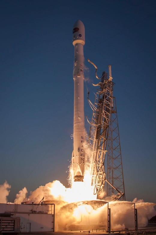 a falcon 9 rocket carrying nasa s deep space climate observatory known as the dscovr