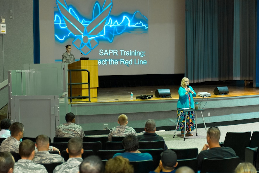 Patricia Gragg, 45th Space Wing Sexual Assault Response Coordinator, kicks off a Sexual Assault Prevention and Response training session at the Patrick Air Force Base Theater, Fla., April 7, 2015. (U.S. Air Force photo/Cory Long) (Released)