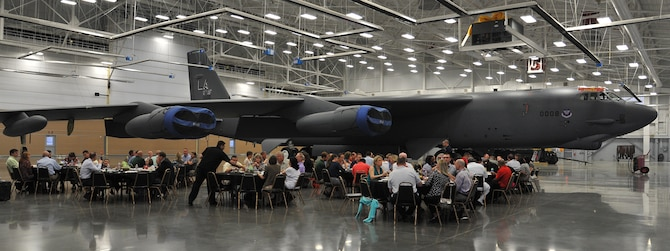 Attendees gather at a farewell dinner honoring Col. Leland Bohannon, 2nd BW vice commander, at the Weapons Load Training Facility on Barksdale Air Force Base, La., April 2, 2015. Bohannon was reassigned as commander of the Air Force Inspection Agency at Kirtland Air Force Base, New Mexico. after serving as 2nd BW vice commander from July 2013 to April 2015. (U.S. Air Force photo/ Senior Airman Joseph Raatz)